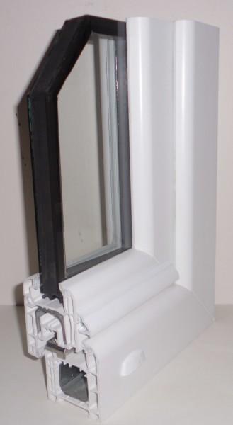 vue en coupe d'une fenêtre PVC